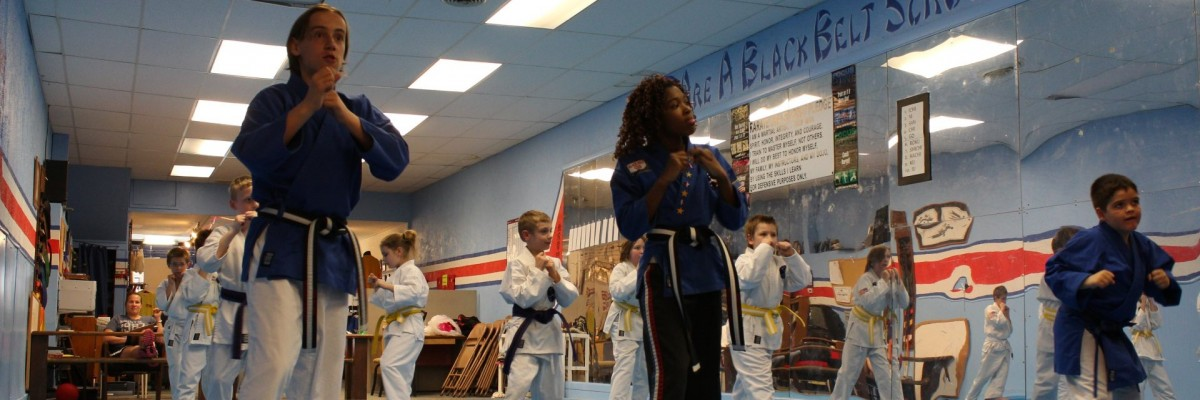 Students training in our dojo school class